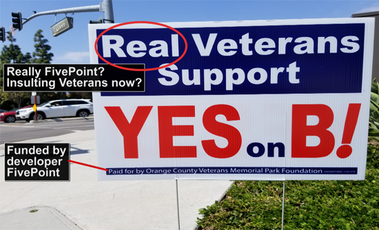 """Yes on B"" Campaign Insults Irvine Veterans"